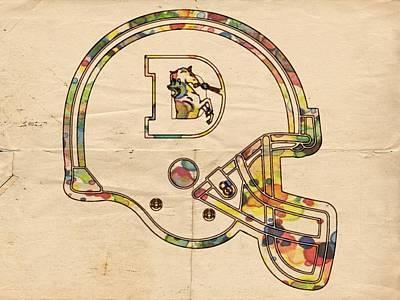 Denver Broncos Logo Helmet Poster by Florian Rodarte