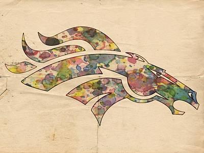 Denver Broncos Logo Vintage Poster by Florian Rodarte
