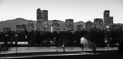 Denver Colorado Skyline And Mountains Panorama Poster by Gregory Ballos