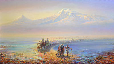 Descent Of Noah From Mountain Ararat Poster by Meruzhan Khachatryan