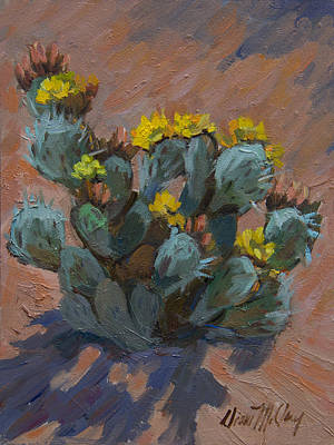 Desert Prickly Pear Cactus Poster by Diane McClary
