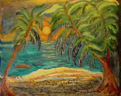 Deserted Tropical Sunset Poster by Louise Burkhardt