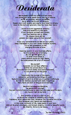 Desiderata 3 - Words Of Wisdom Poster by Sharon Cummings