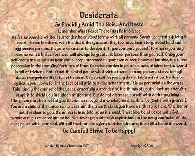 Desiderata On Flowerbed Watercolor Poster by Desiderata Gallery