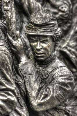 Determination.  State Of Delaware Monument Detail-e Gettysburg Autumn Mid-day. Poster by Michael Mazaika