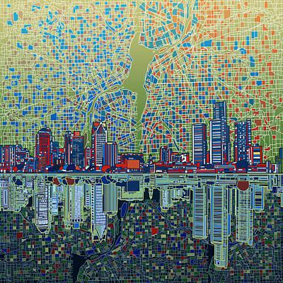 Detroit Skyline Abstract 3 Poster by Bekim Art