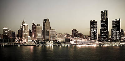 Detroit Skyline At Night Poster by Levin Rodriguez