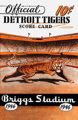 Detroit Tigers 1946 Scorecard Poster by Big 88 Artworks