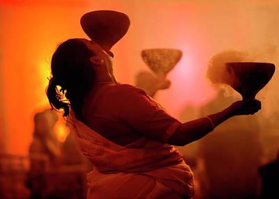 Dhunuchi Folk Dance Performed At Durga Poster by Jaina Mishra