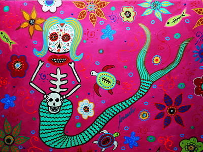 Dia De Los Muertos Mermaid Poster by Pristine Cartera Turkus