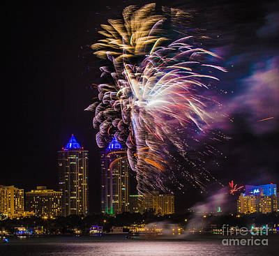 Diamond Towers Fireworks Celebration Poster by Rene Triay Photography