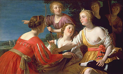 Diana Resting After The Hunt Oil On Canvas Poster by Gerrit van Honthorst
