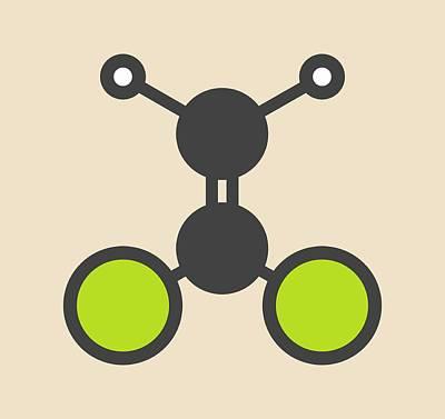 Dichloroethene Molecule Poster by Molekuul