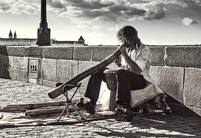 Didgeridoo Player On The Charles Bridge. Prague Poster by Jenny Rainbow