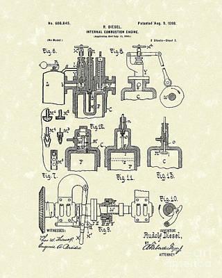 Diesel Engine 1898 Patent Art Poster by Prior Art Design
