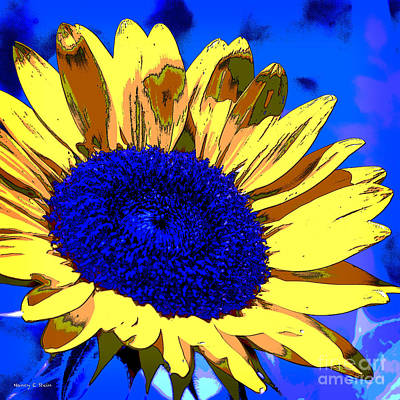 Dimensional Sunflower  Poster by Nancy E Stein