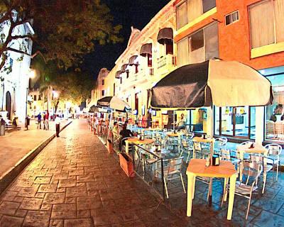 Dining Al Fresco In Merida Poster by Mark Tisdale