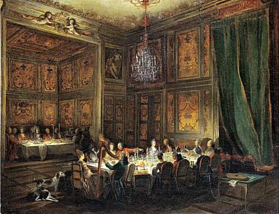 Dinner Of The Prince Of Conti 1717-76 In The Temple, 1766 Oil On Canvas Poster by Michel Barthelemy Ollivier or Olivier
