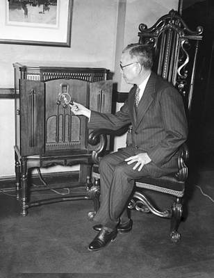 Diplomat Listens To Radio Broadcast, Poster by Science Photo Library