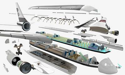 Disassembled Parts Of An Airbus Poster by Dorling Kindersley/uig