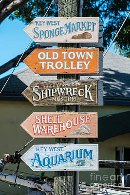 Distressed Key West Sign Post Poster by Ian Monk