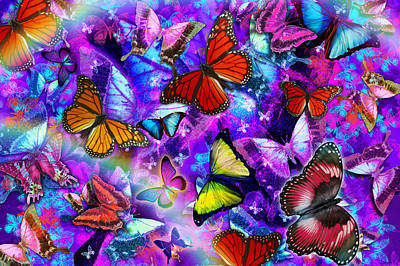 Dizzy Colored Butterfly Explosion Poster by Alixandra Mullins