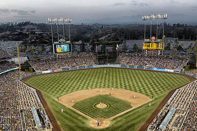 Dodger Stadium In The Evening Poster by Mountain Dreams