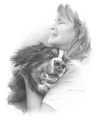 Dog And Owner Pencil Portrait Poster by Mike Theuer