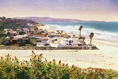 Dog Beach Del Mar Poster by Mary Helmreich