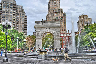 Dog Walking At Washington Square Park Poster by Randy Aveille