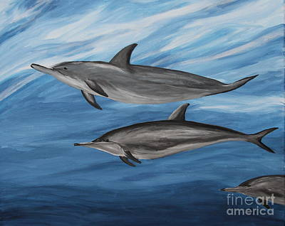 Dolphins - Painting  Poster by Christiane Schulze Art And Photography