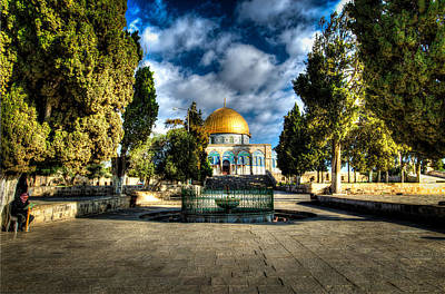 Dome Of The Rock Hdr Poster by David Morefield