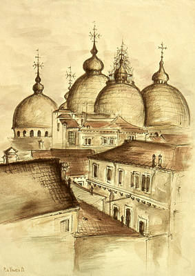 Domes Of Venice - Watercolor Poster by Art America Online Gallery