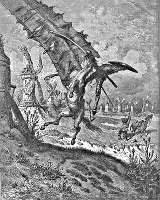 Don Quixote Attacks The Windmill Engraving Poster by Gustave Dore