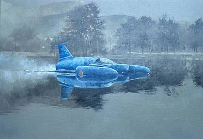 Donald Campbell And Bluebird Oil On Canvas Poster by Peter Miller