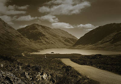 Doolough Pass County Mayo Ireland Sepia Poster by Jane McIlroy