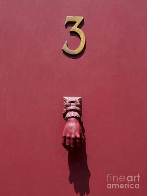 Doorknocker And Number Three On A Red Door. France. Europe. Poster by Bernard Jaubert