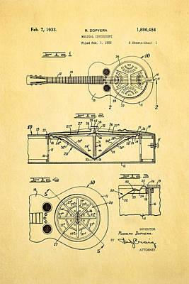 Dopyera Dobro Guitar Patent Art 1933 Poster by Ian Monk