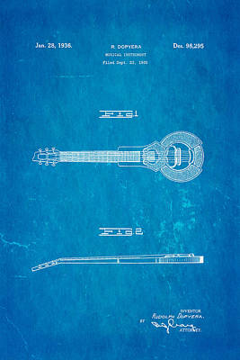 Dopyera Dobro Hawaiian Lap Steel Guitar Design Patent Art 1939 Blueprint Poster by Ian Monk