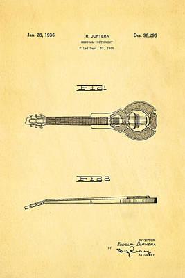 Dopyera Dobro Hawaiian Lap Steel Guitar Design Patent Art 1939 Poster by Ian Monk