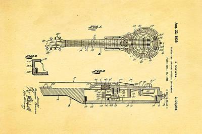 Dopyera Dobro Hawaiian Lap Steel Guitar Patent Art 1939 Poster by Ian Monk
