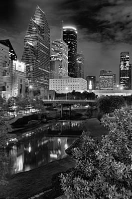 Downtown Houston At Night. Poster by Silvio Ligutti