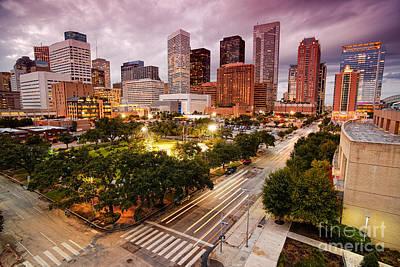Downtown Houston Skyline During Twilight Poster by Silvio Ligutti