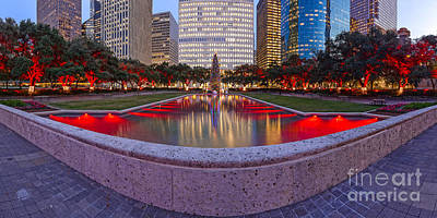 Downtown Houston Skyline Hermann Square City Hall Decked Out In Christmas Lights - Houston Texas Poster by Silvio Ligutti