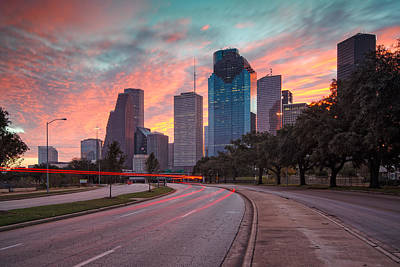 Downtown Houston Skyline The Great Fire Of 2012 Poster by Silvio Ligutti