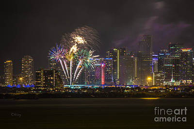 Downtown Miami Fireworks View Poster by Rene Triay Photography
