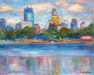 Downtown Minneapolis Skyline From Lake Calhoun II - Or Commission Your City Painting Poster by Quin Sweetman