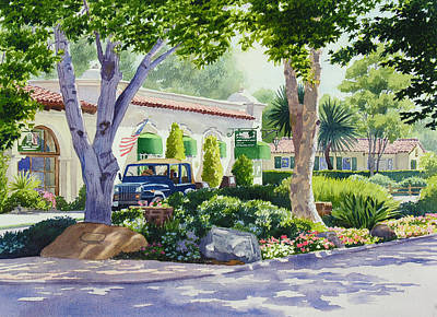 Downtown Rancho Santa Fe Poster by Mary Helmreich