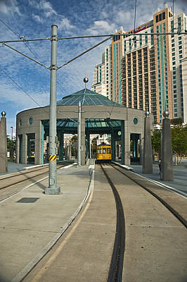 Downtown Tampa Streetcar Poster by Carolyn Marshall
