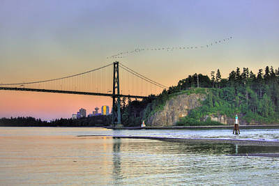 Downtown Vancouver And Lions Gate Bridge At Twilight Poster by Eti Reid